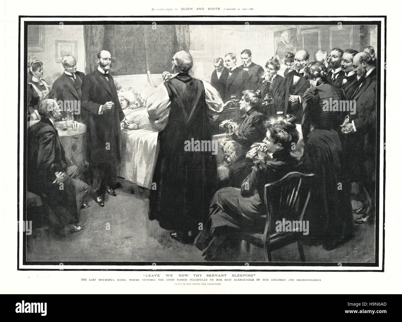 1901 Black Amp White Queen Victoria On Her Deathbed At Osborne House Stock Photo Royalty Free
