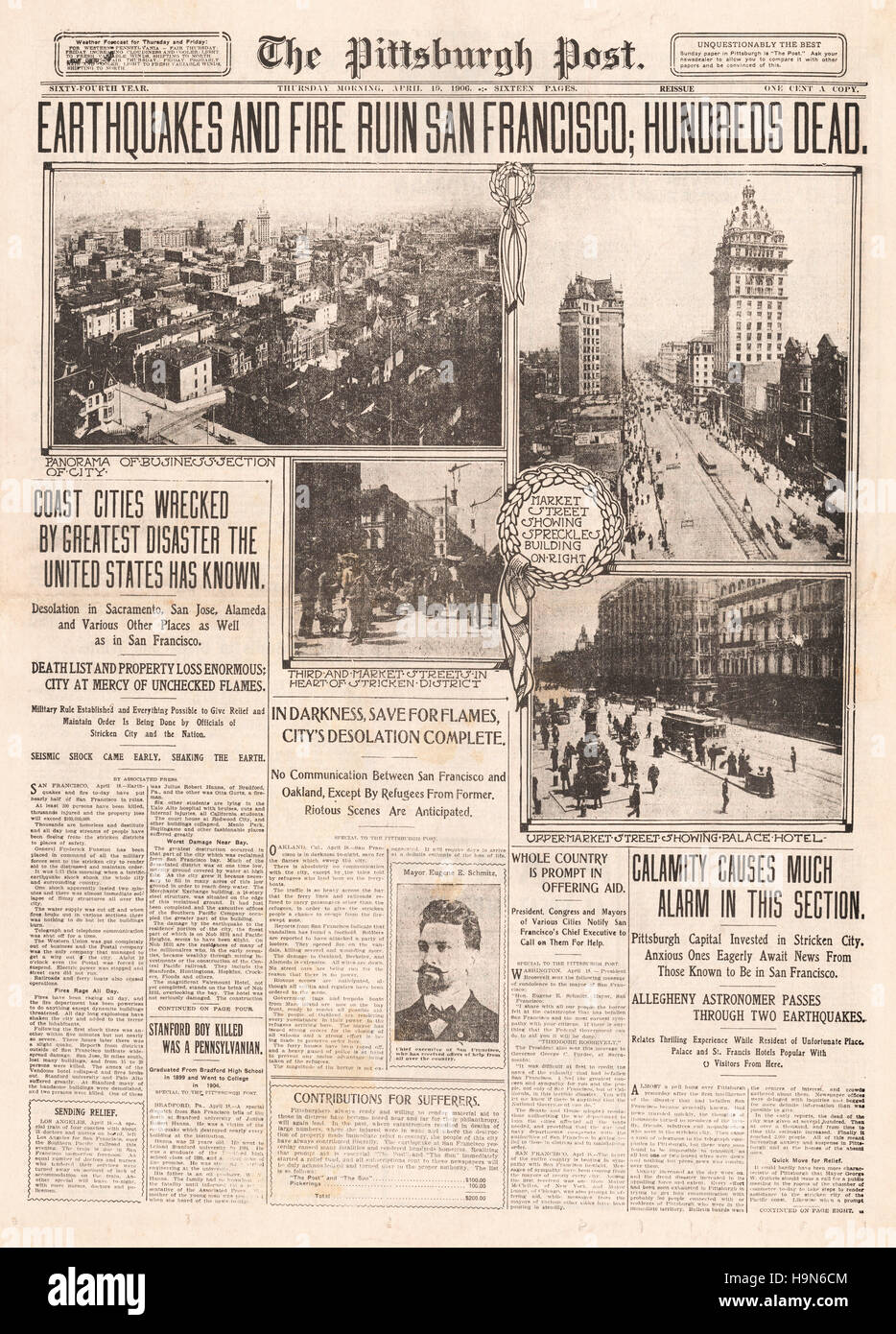 1906 the pittsburgh post usa front page reporting the san francisco earthquake