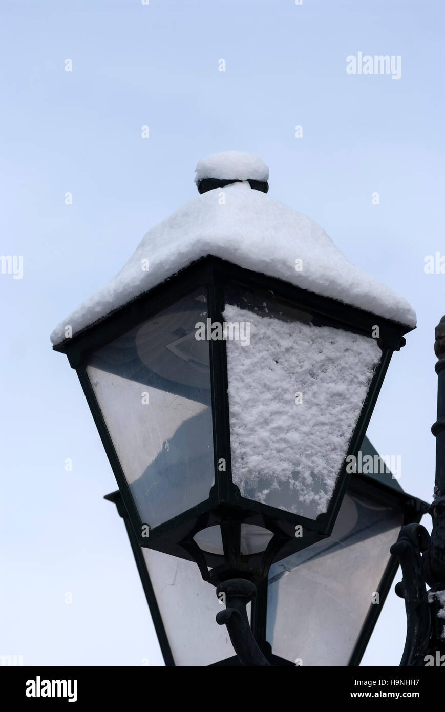 Street Light Under Snow In Syntagma Square Athens Greece