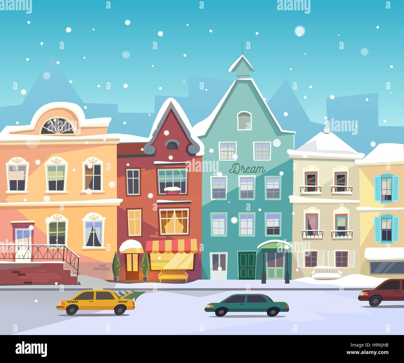 City Buildings Illustration Holiday