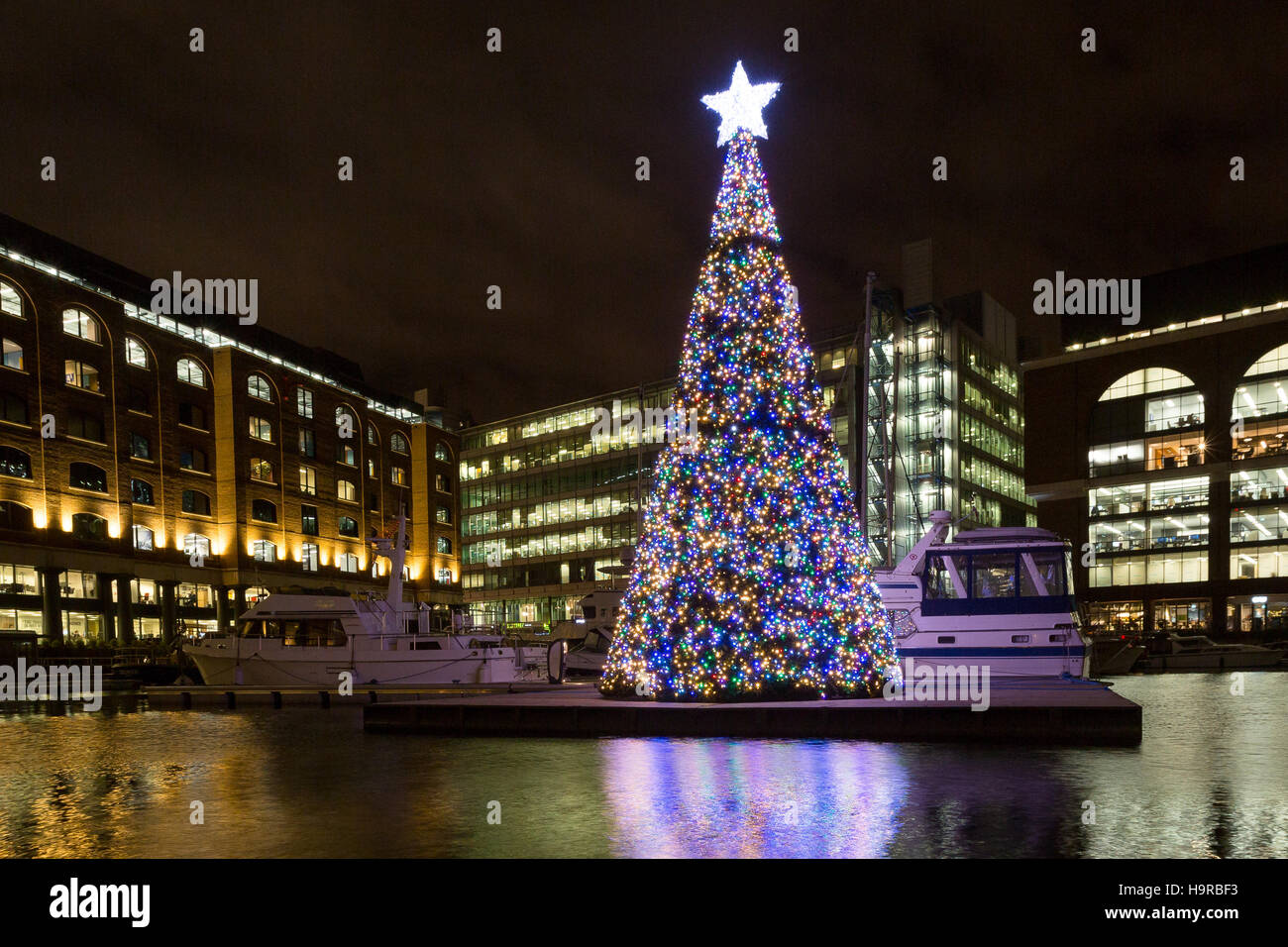 Lights From The Floating Christmas Tree Reflect In
