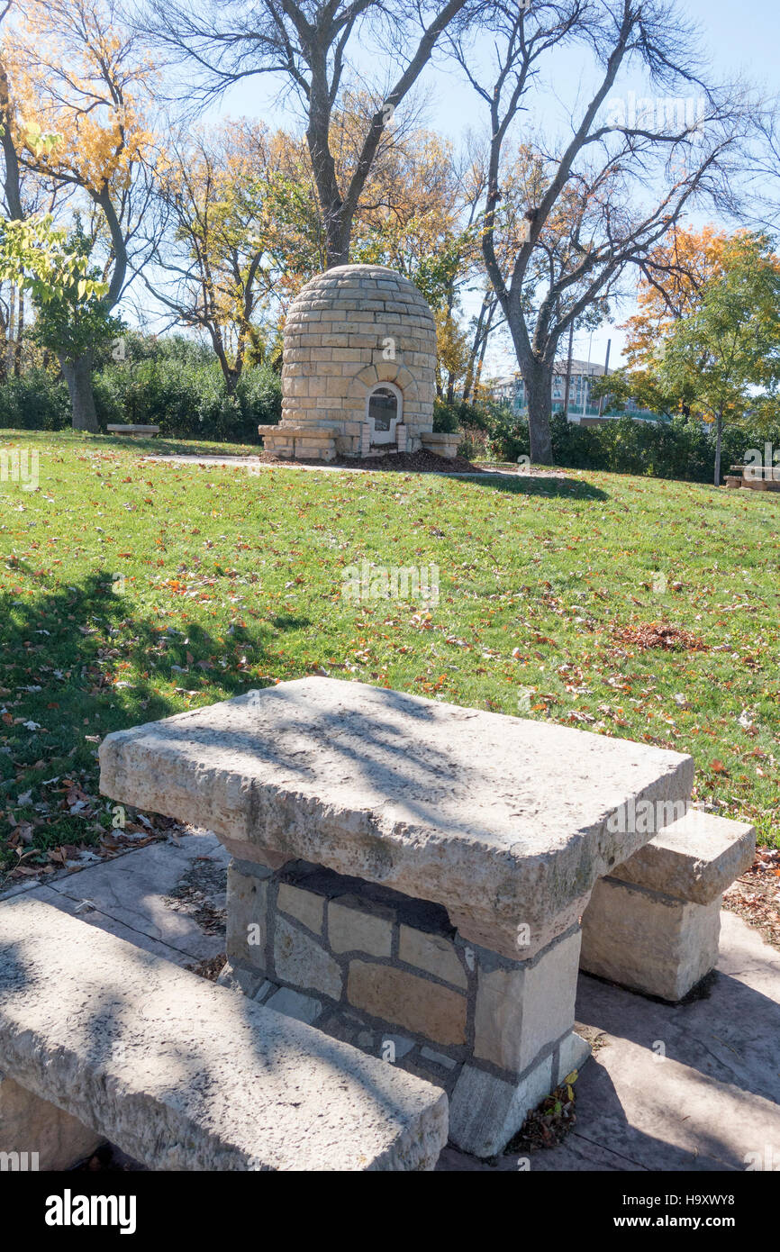 lilac park with the historic beehive fireplace build in 1927 as a