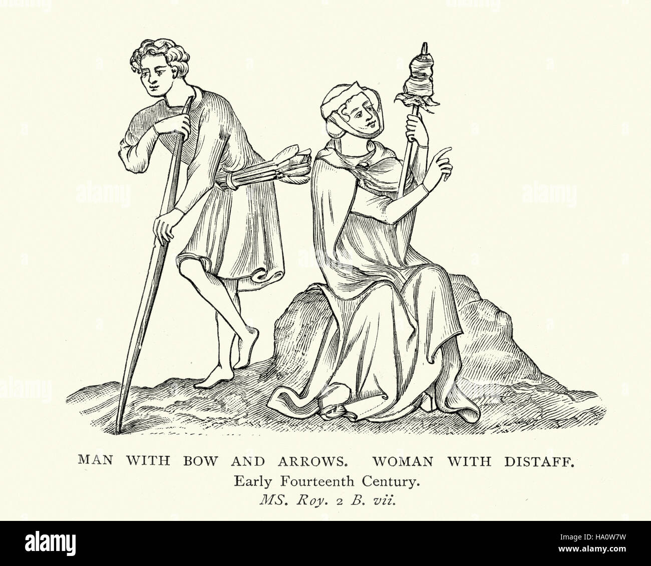 Medieval man with bow and arrows and woman with distaff a tool medieval man with bow and arrows and woman with distaff a tool used in spinning fiber early 14th century sciox Gallery