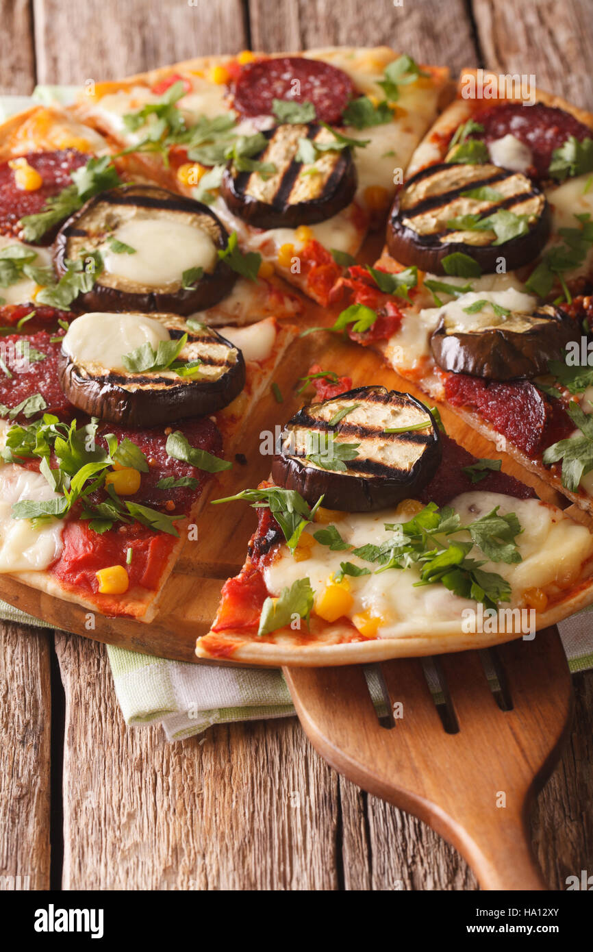 Aubergine and salami stacks