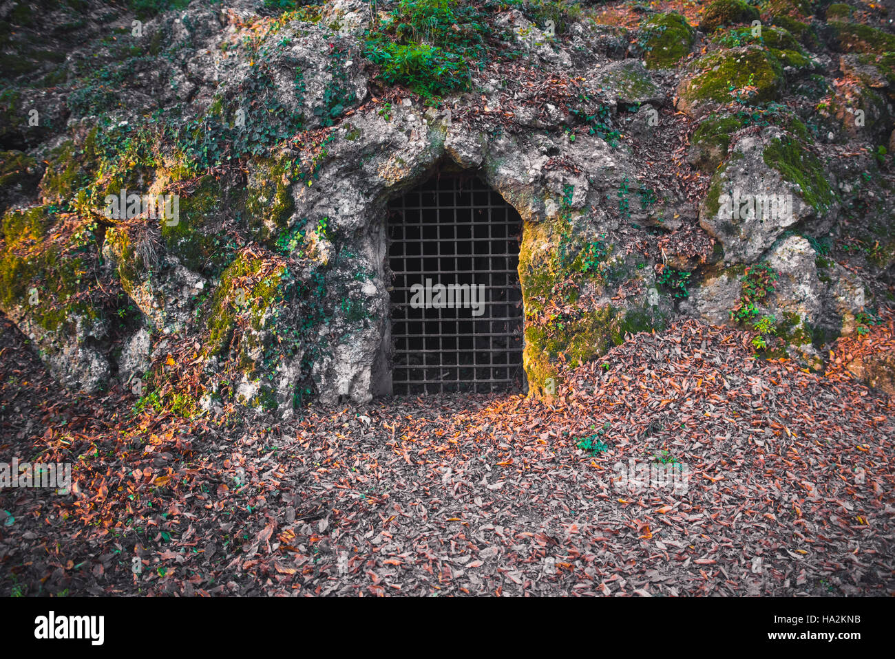 Creepy Passage Door And Grate In A Cave
