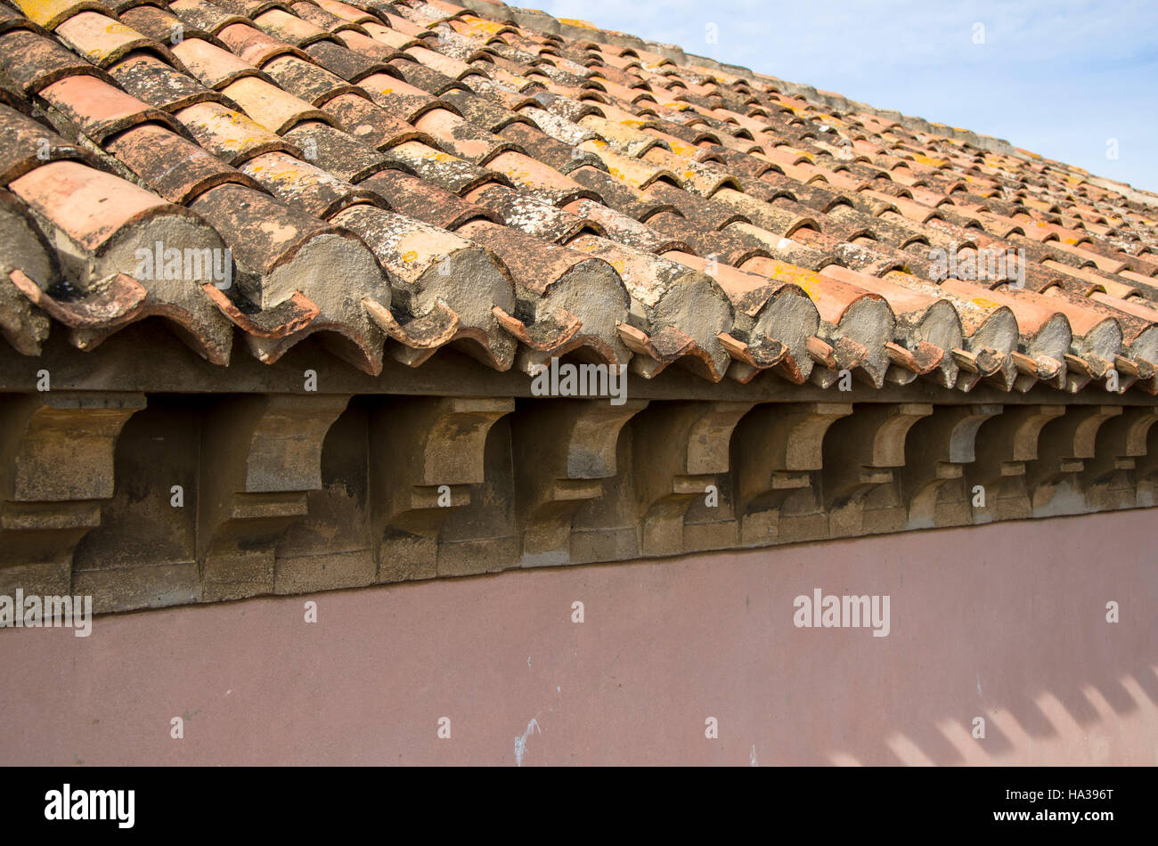 Traditional old mediterranean roof construction of for Mediterranean roof styles