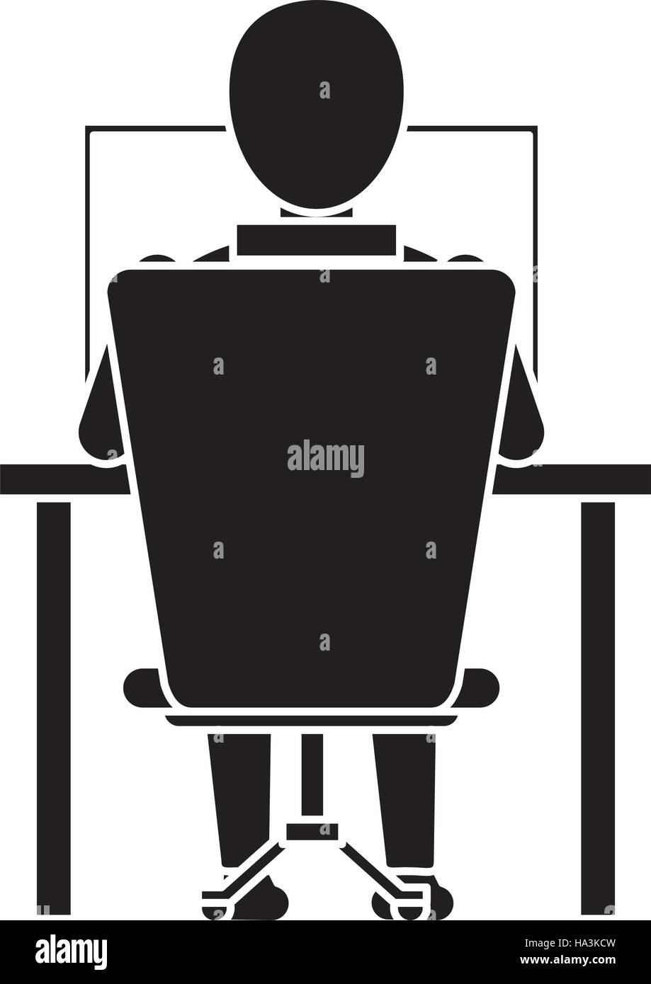 Laptop Chair Desk Silhouette Guy Back Working Laptop Chair Desk Stock Vector Art