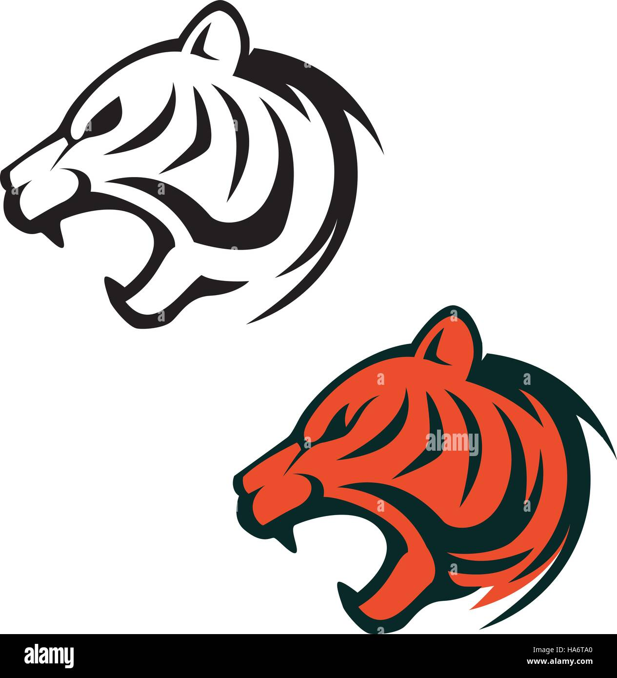 Tiger head logo template. Design element for label, sign ...