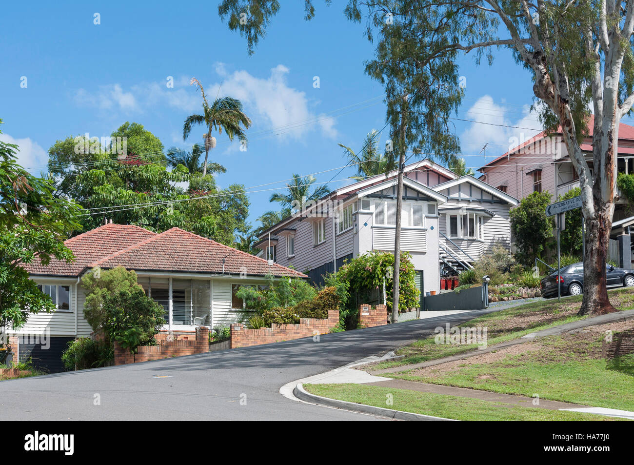 Stock photo typical weatherboard houses highgate hill brisbane queensland australia