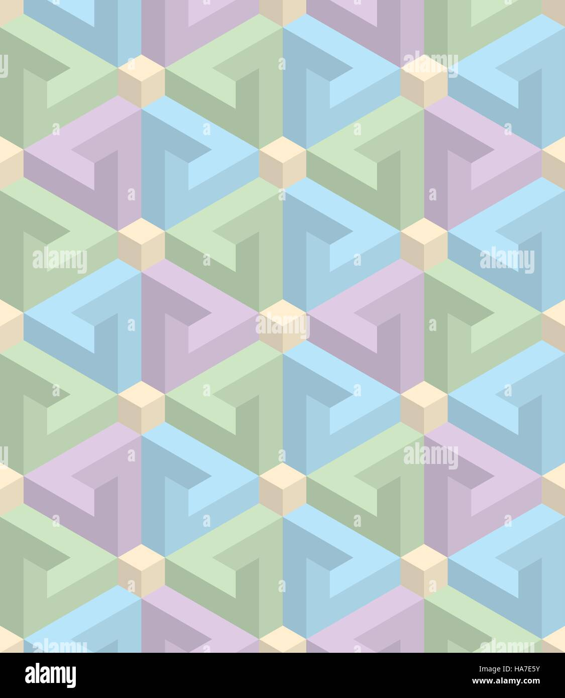 Pastel Shades isometric seamless pattern in pastel shades. 3d optical illusion