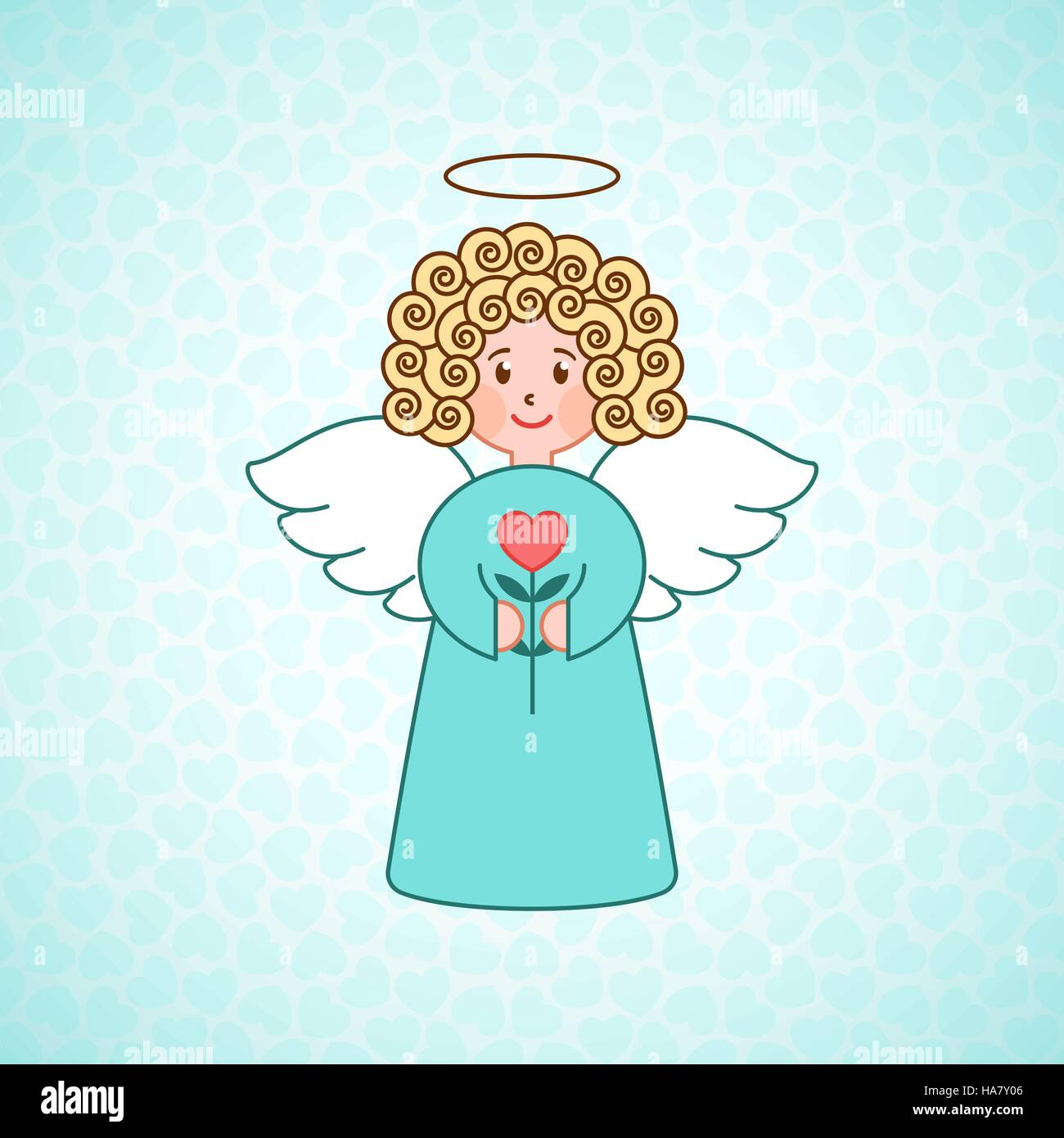 Doodle angel with a heart. Cute girl with wings. Romantic greeting ...