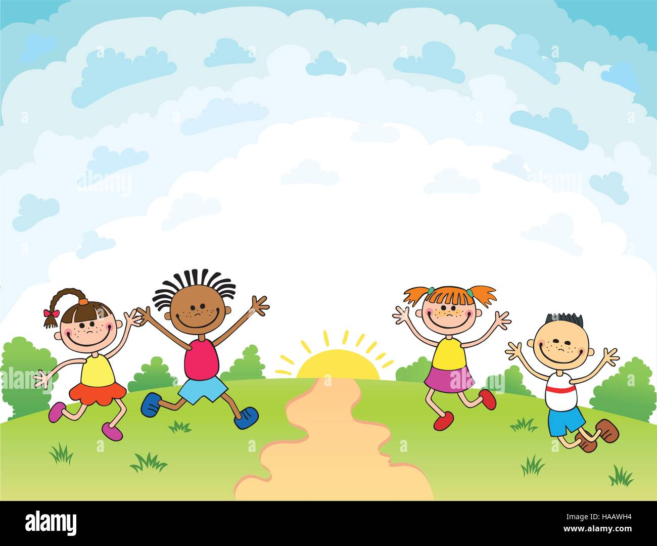 children are jumping on the glade, bunner cartoon funny ...