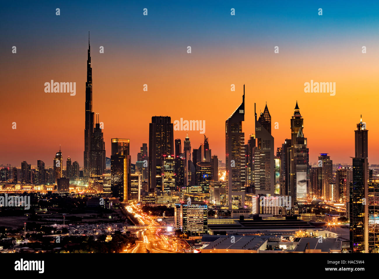 A beautiful skyline view of dubai uae as seen from dubai for Best at dubai