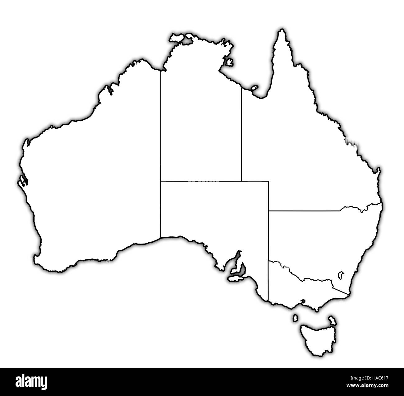 borders of territories on map of australia with administrative Stock