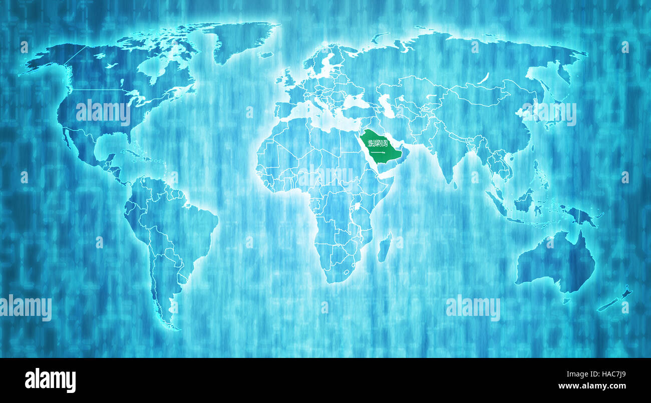 Saudi Arabia Flag On Blue Digital World Map With Actual National - Where is saudi arabia on the world map