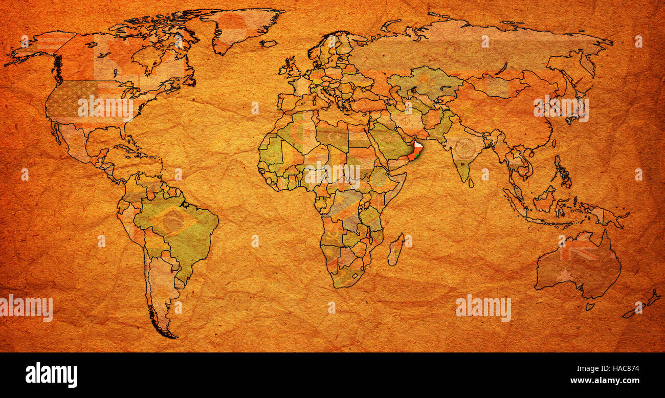 Oman Flag On Old Vintage World Map With National Borders Stock - Oman in the world map