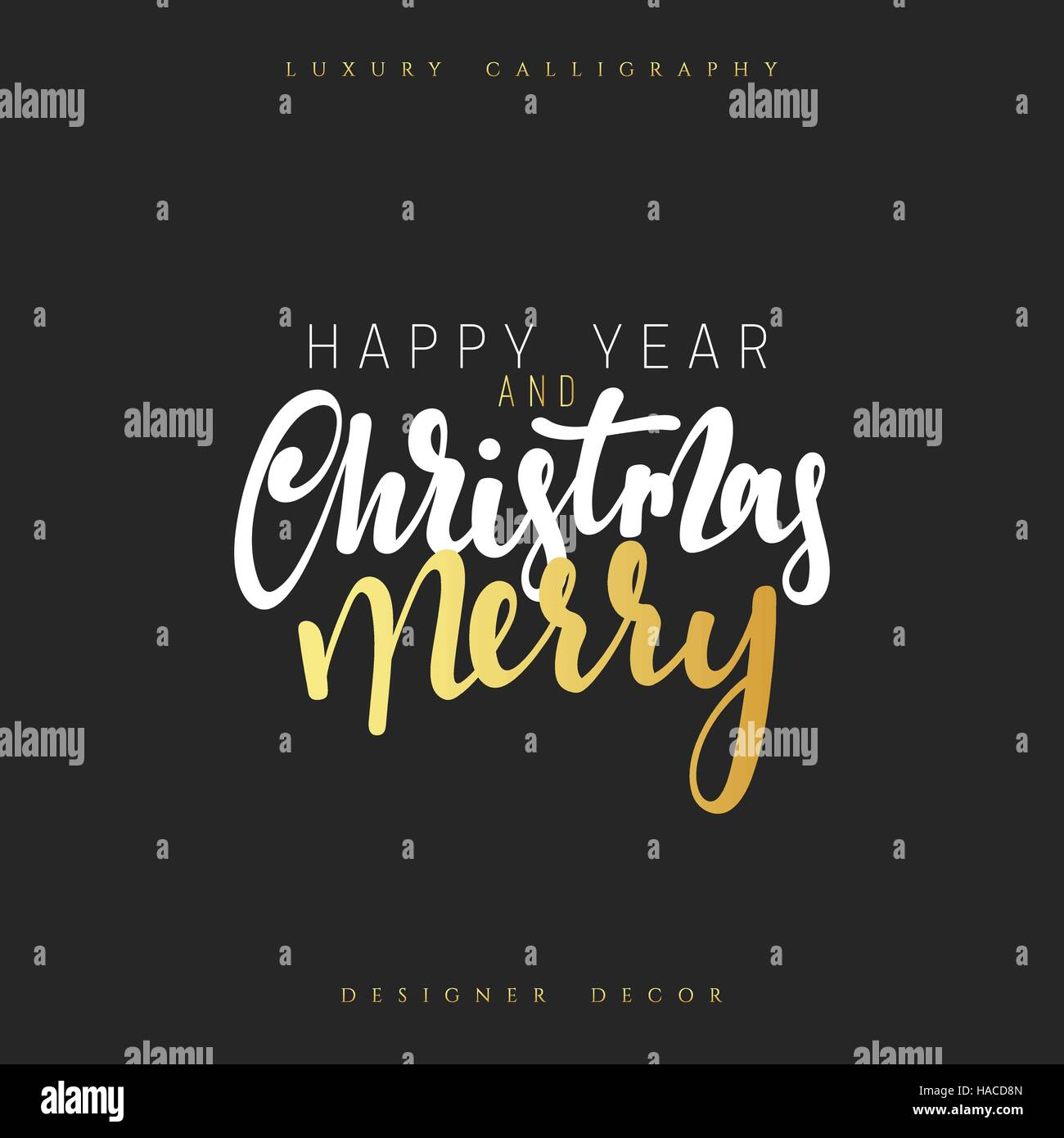 Poster design handmade - Christmas Design Handmade Calligraphy Lettering Color Gold Luxury Decor Element For Poster And Greeting Cards Inscription Happy New Year And Merry