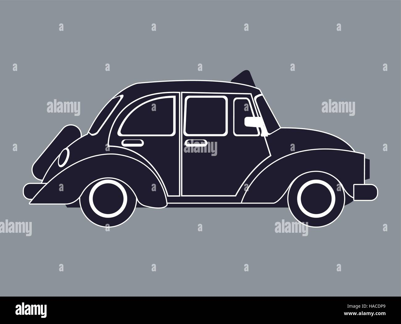 Silhouette Old Taxi Car Side View Stock Vector Art Illustration