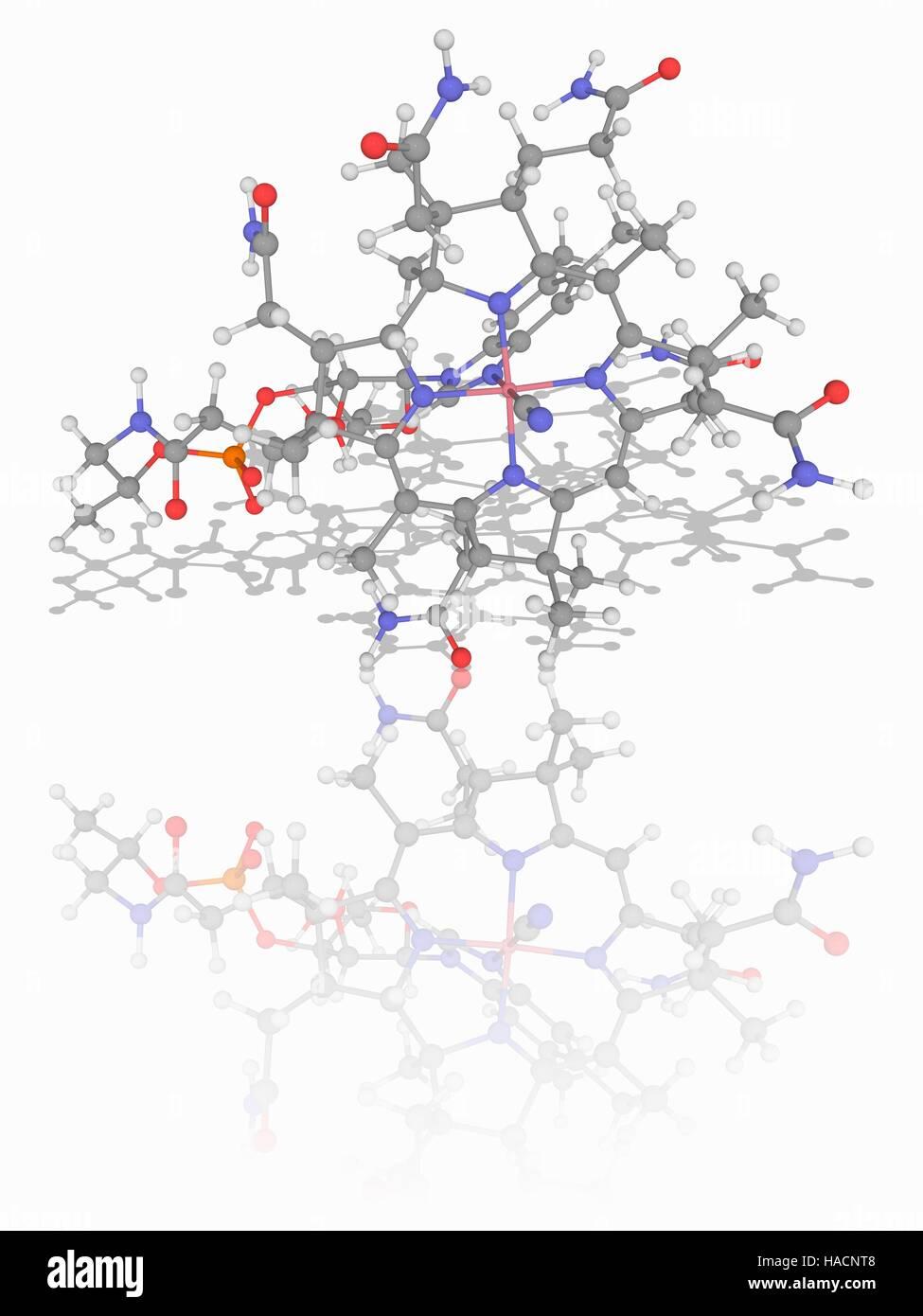 Vitamin B12. Molecular model of the cyanocobalamin Stock Photo ...