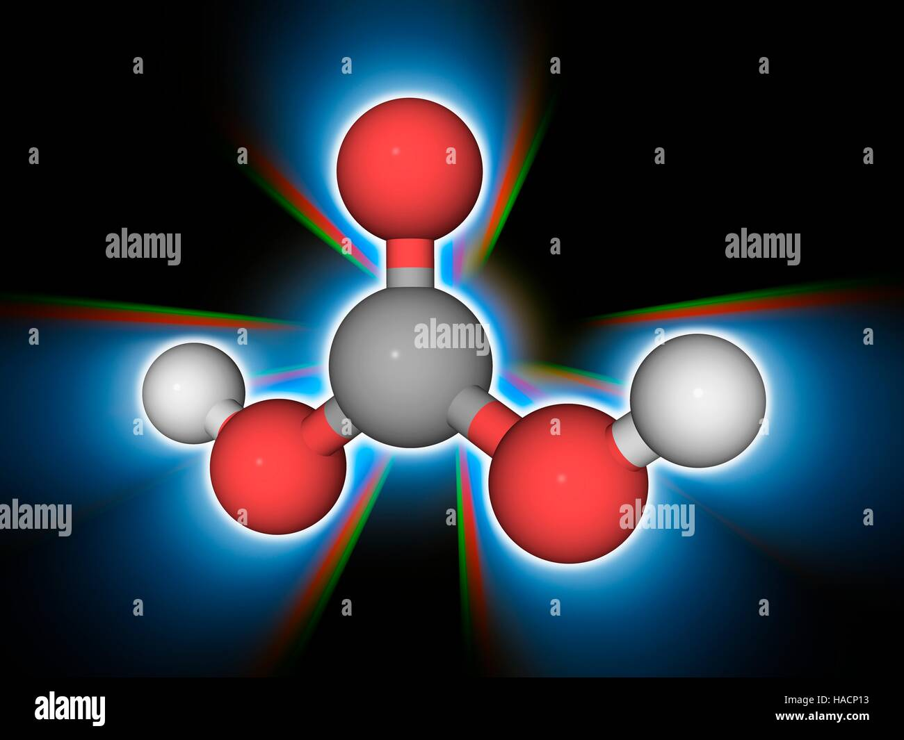Carbonic acid. Molecular model of the weak acid known as carbonic ...