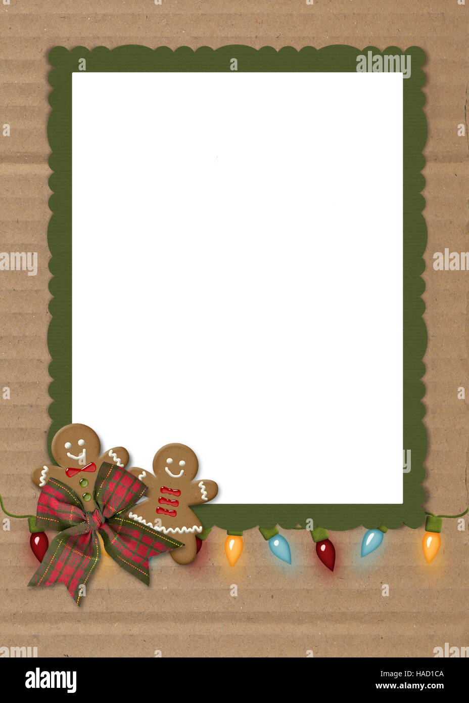 gingerbread cookies and string of Christmas lights on cardboard and ...