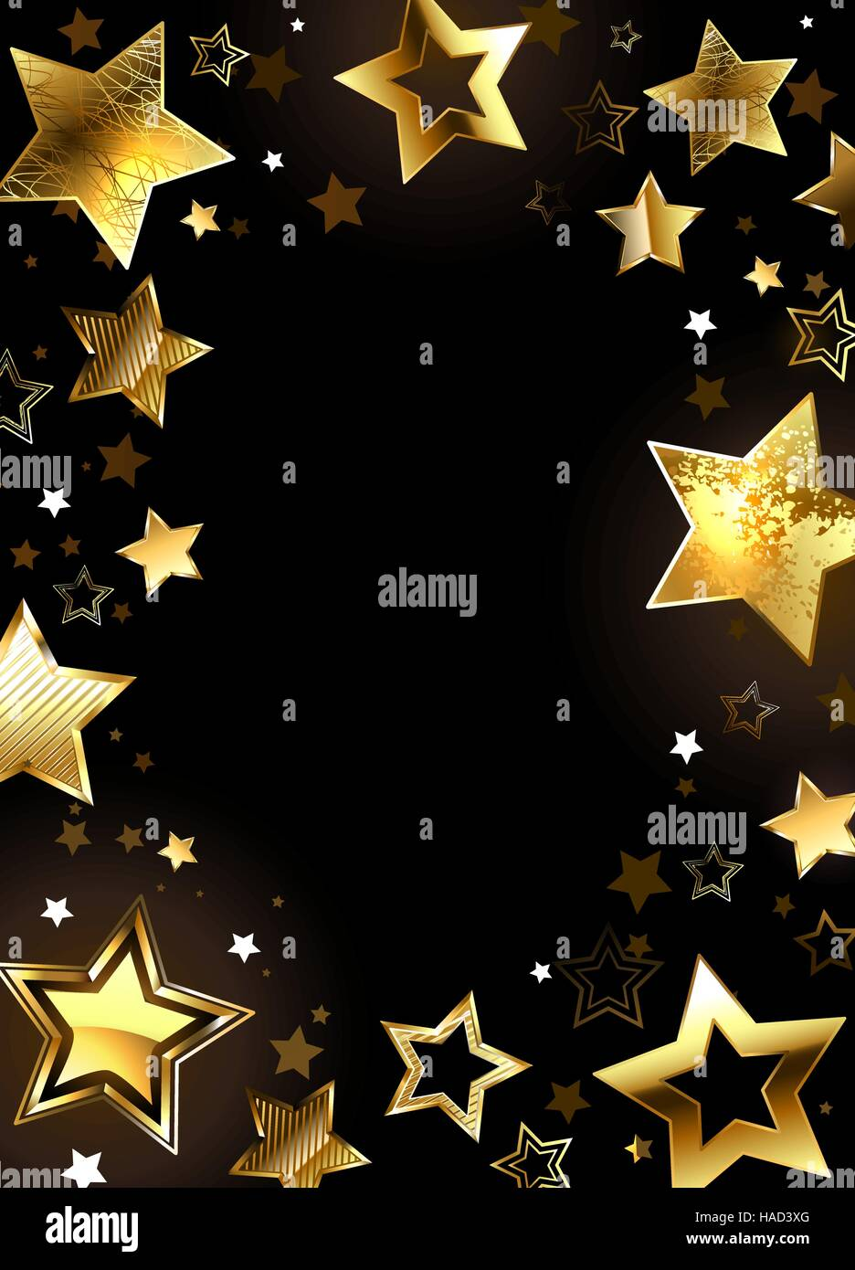 Frame With Shiny Gold Stars On A Black Background Design