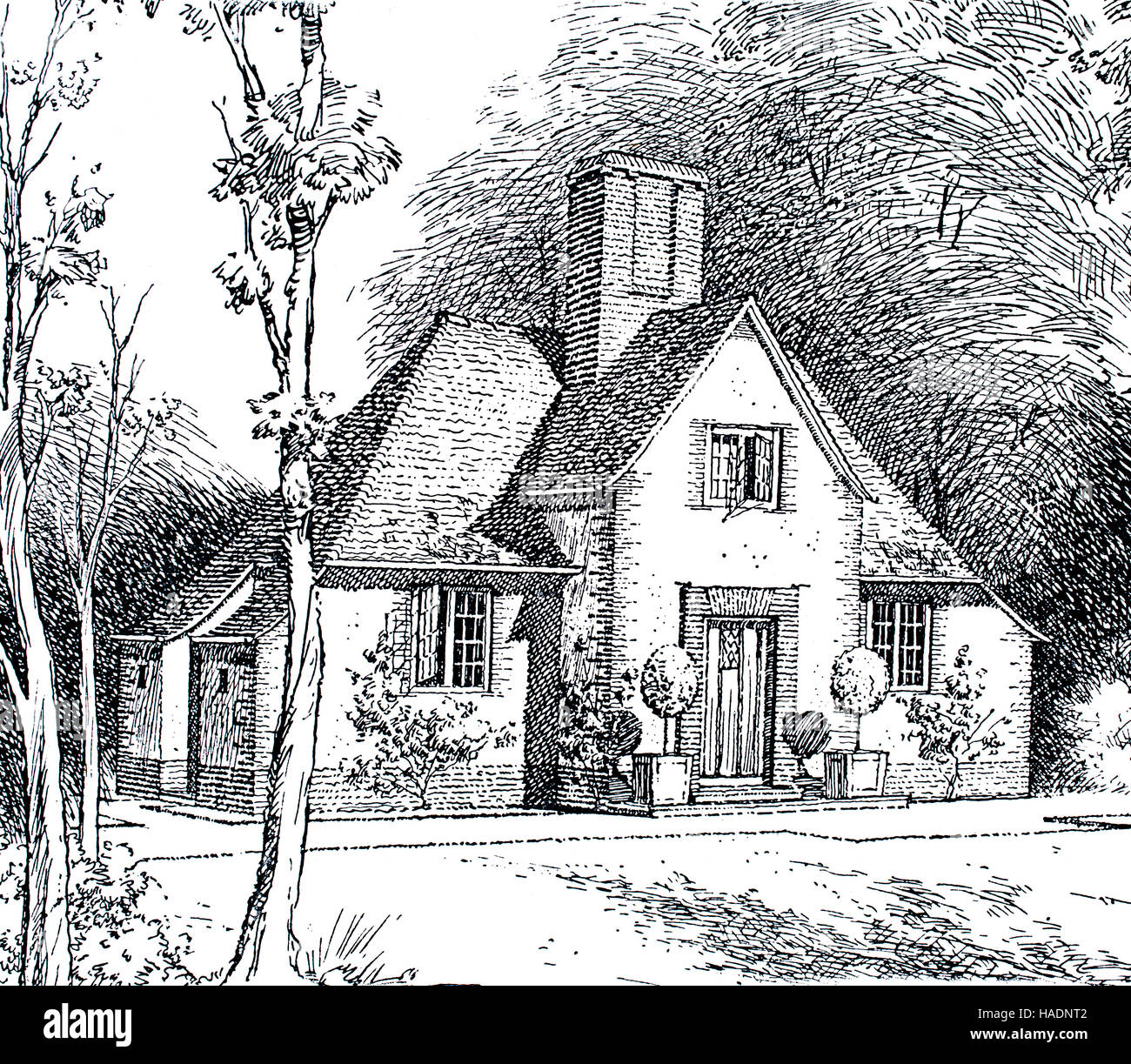 A Small Country Cottage Line Drawing By Architect RF Johnston Illustration From 1913 Studio Magazine