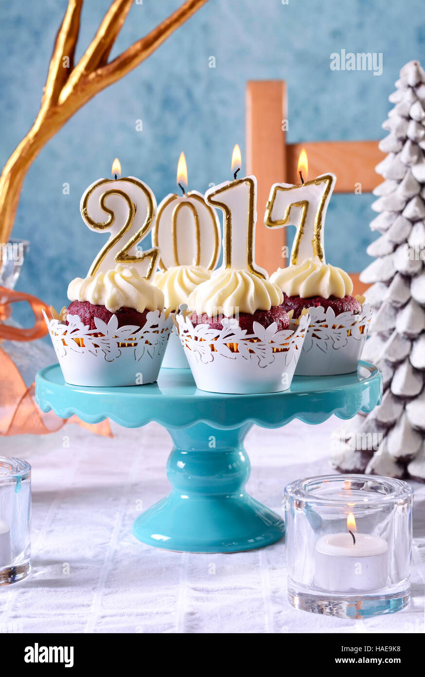 Blue And Gold Table Setting Happy New Year 2017 Cupcakes On A Modern Stylish Festive Blue