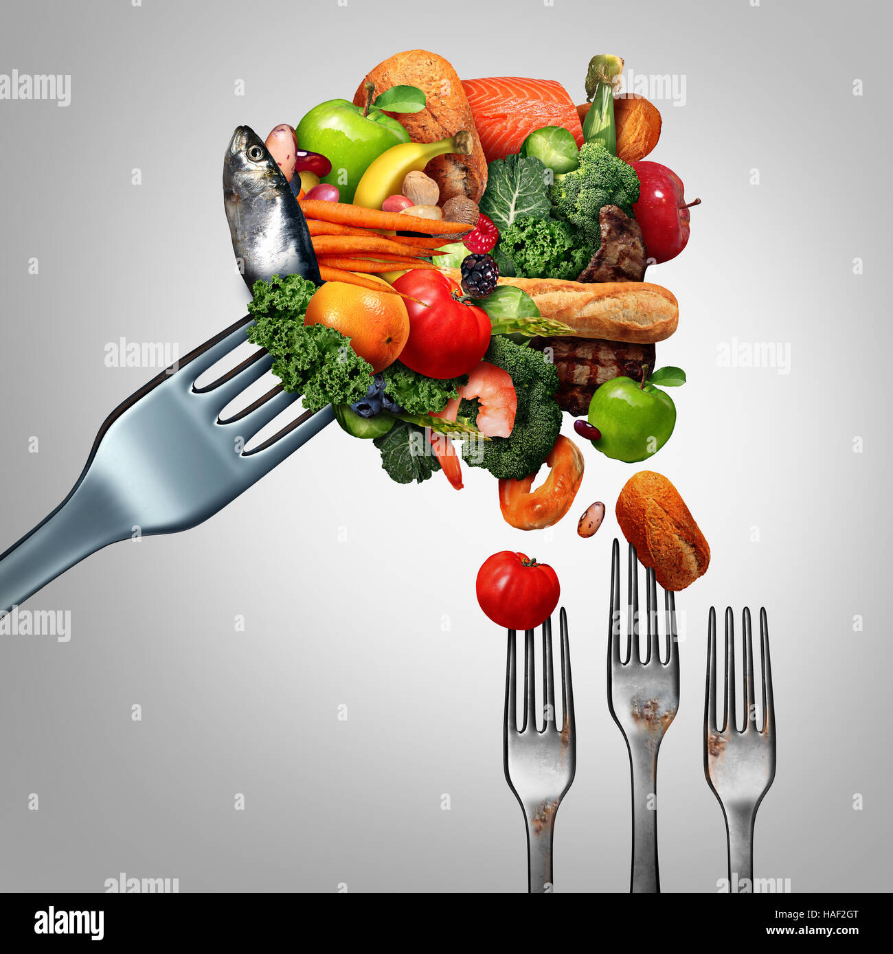 Feed the poor concept as a giant fork with bountiful food feeding feed the poor concept as a giant fork with bountiful food feeding smaller dirty forks as a symbol for taking care of the less fortunate and the needy biocorpaavc Images
