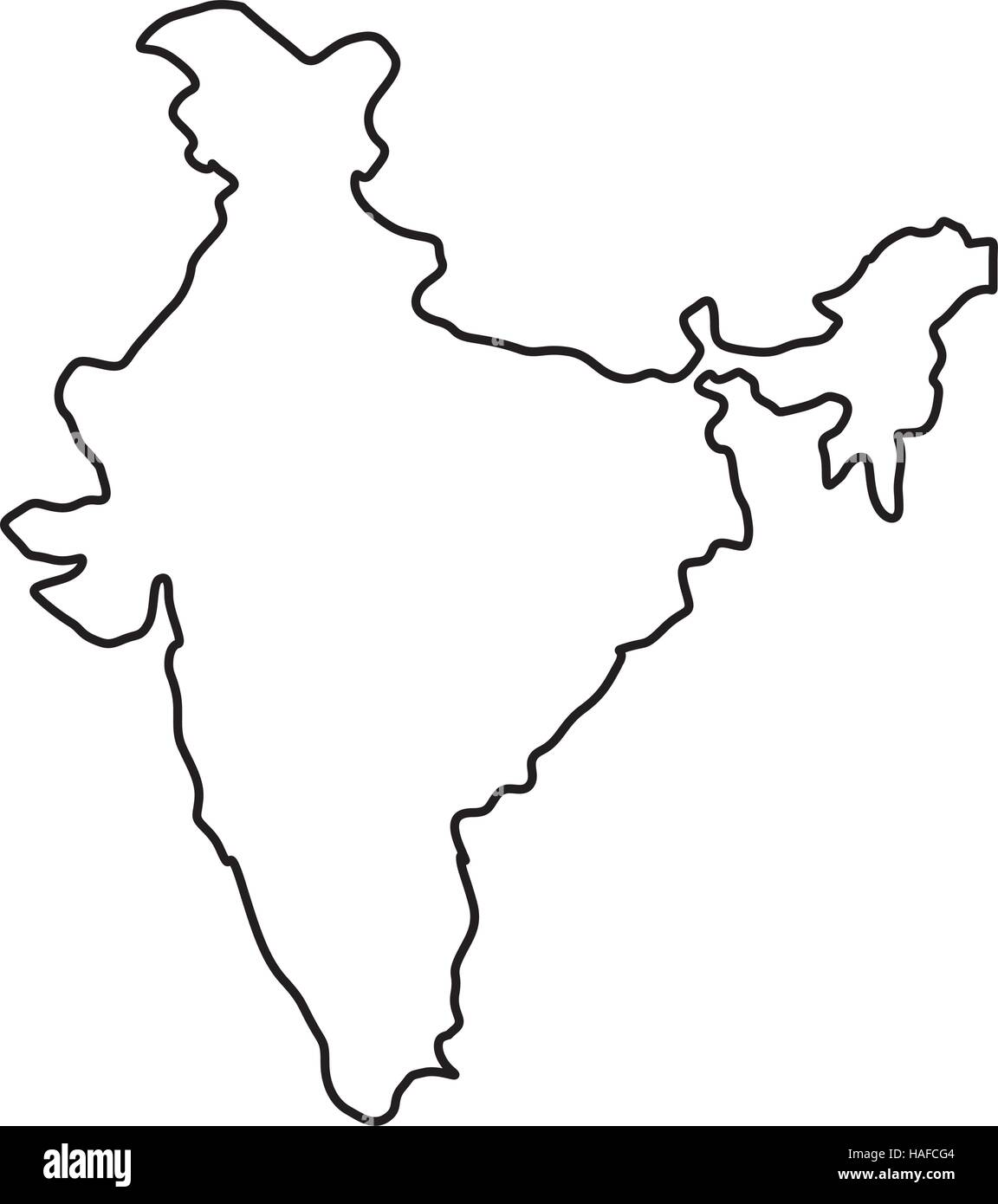 India Map Silhouette Stock Vector Art Illustration Vector Image - Map silhouette