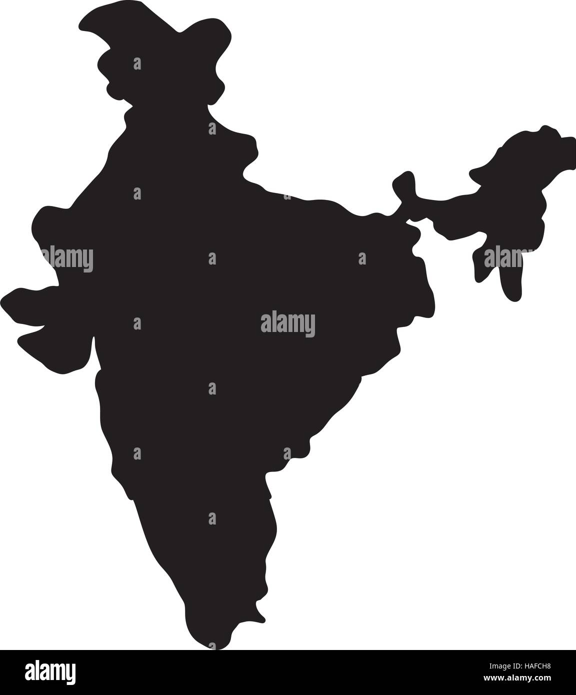 India Map Silhouette Stock Vector Art Illustration Vector Image - India map vector