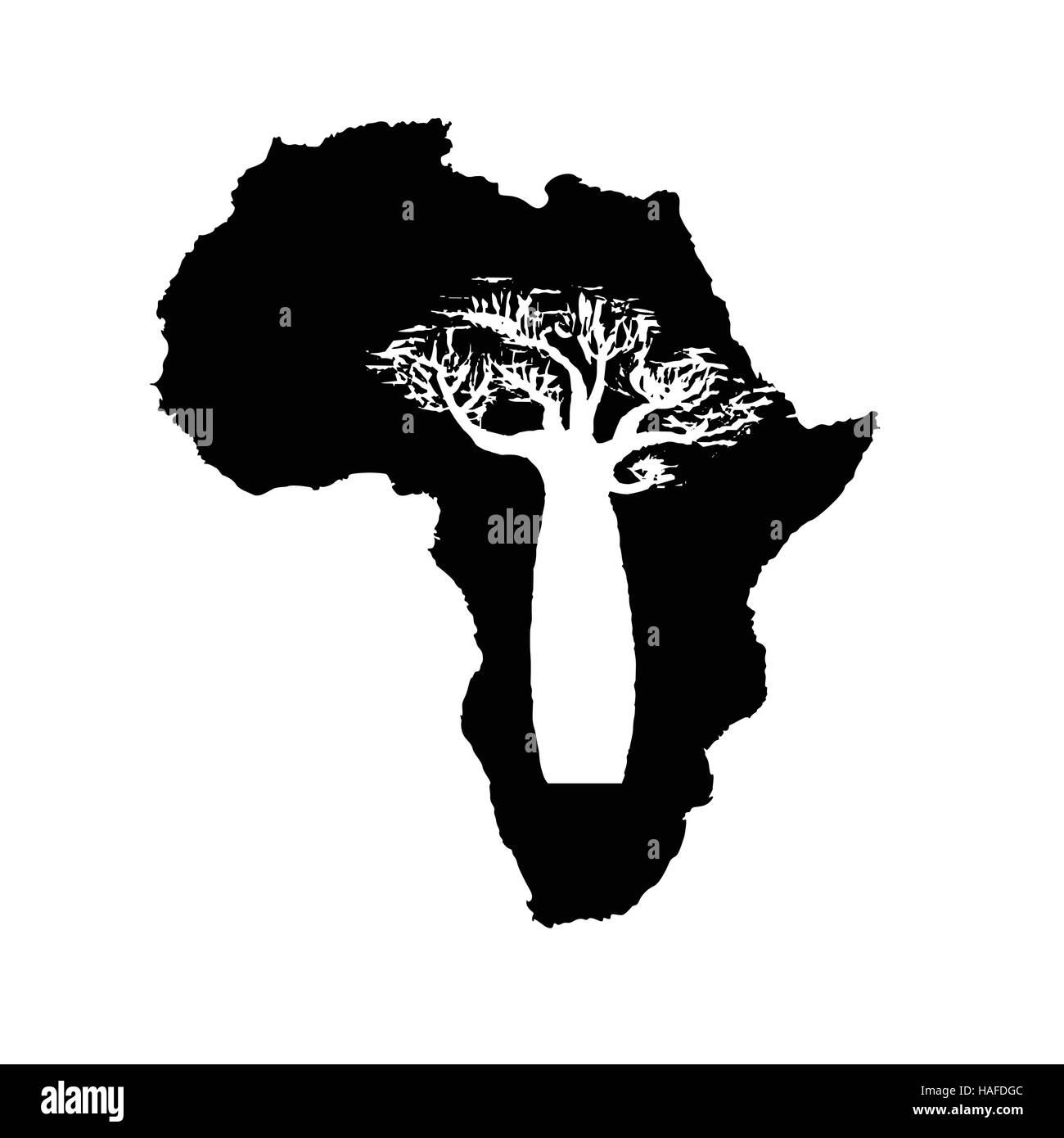 vector silhouette of black africa with white baobab silhouette inside