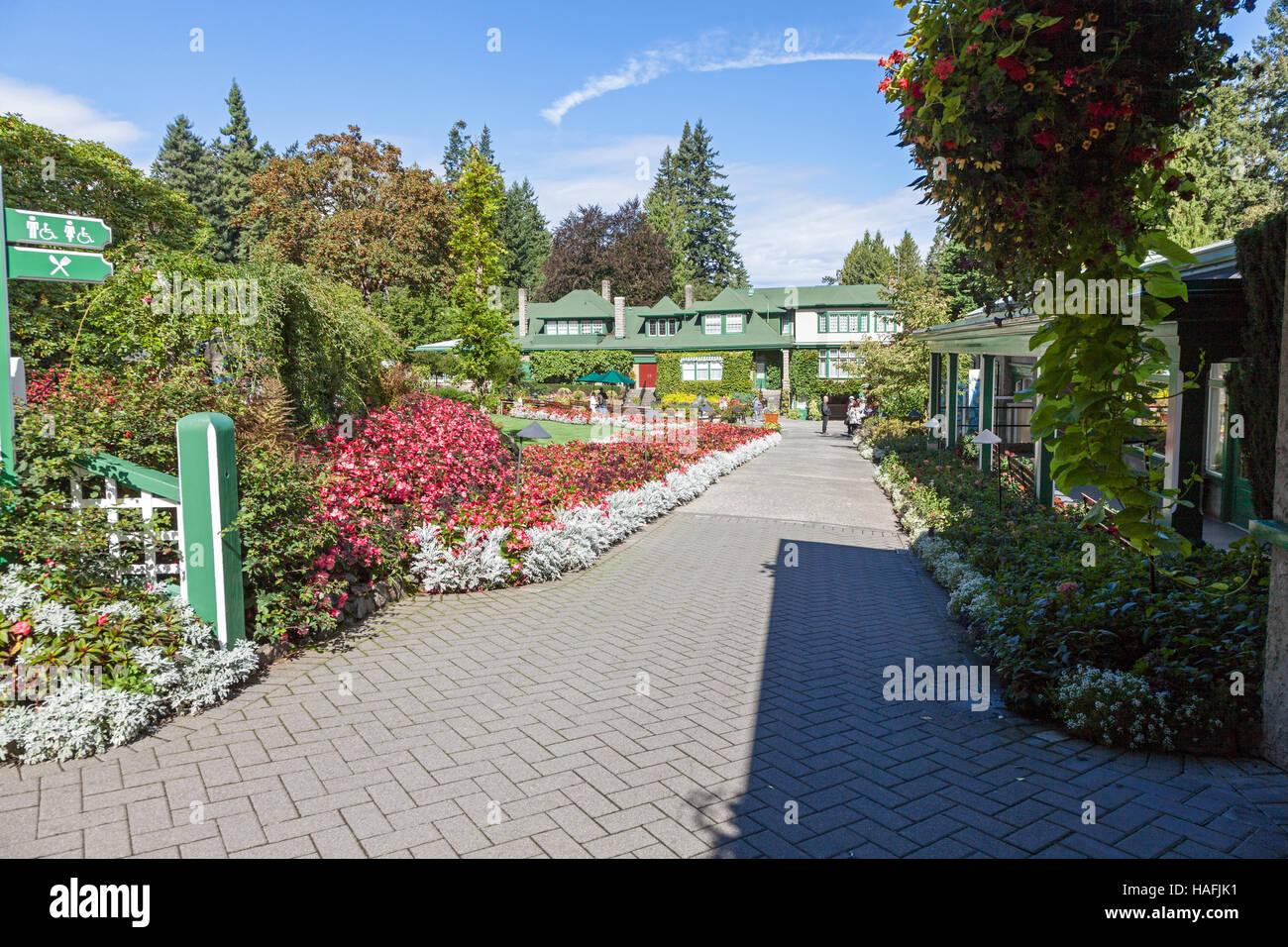 the entrance to butchart gardens brentwood bay british columbia canada located near victoria on vancouver island