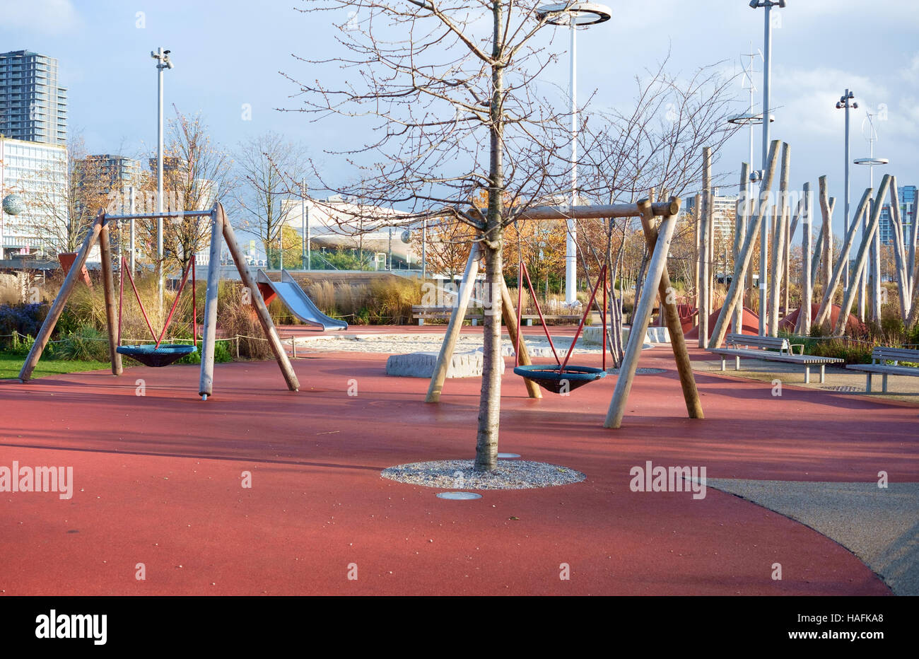 Empty Childrens Playground In Winter Queen Elizabeth Olympic Park Stratford London UK
