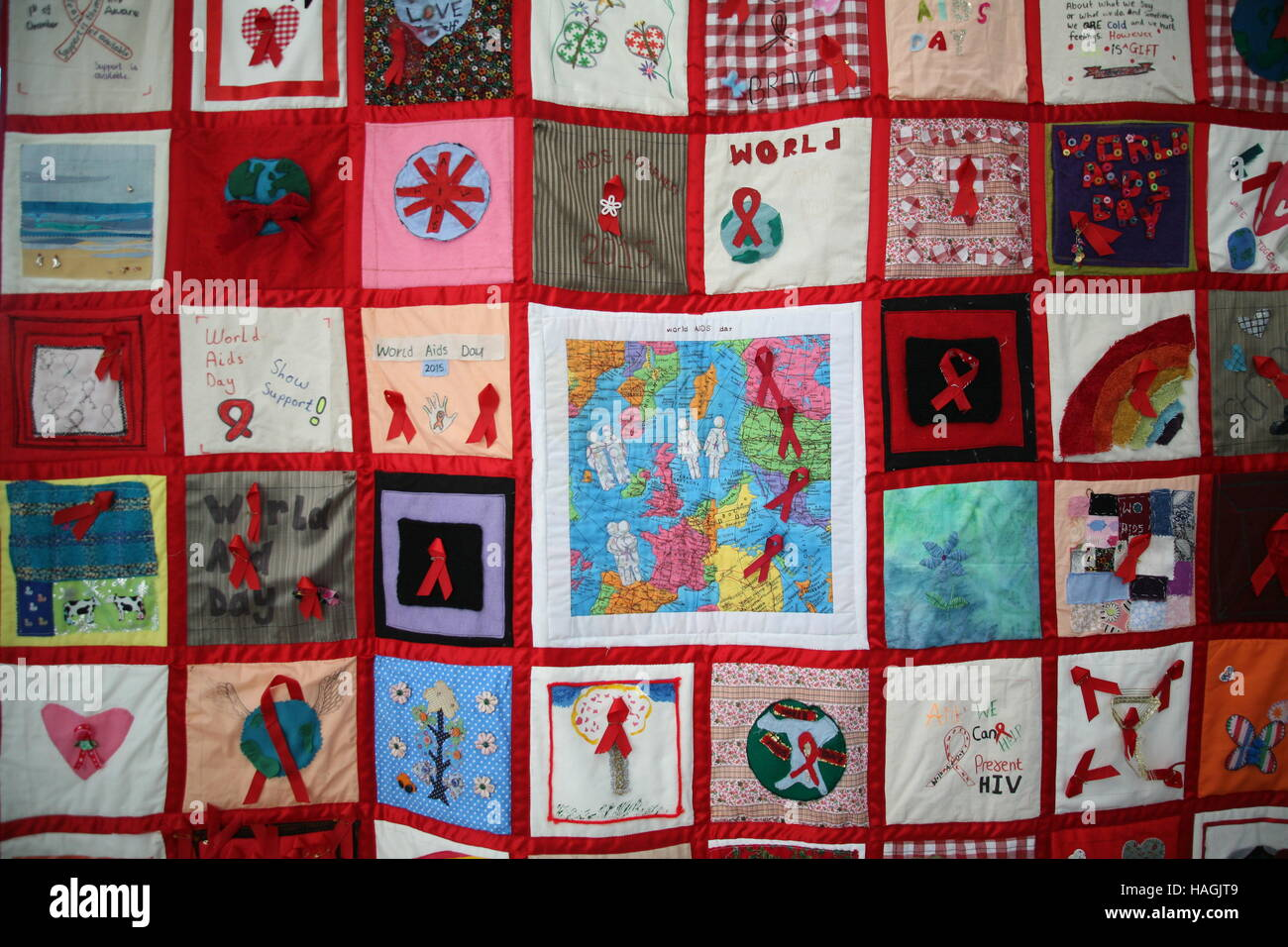 Newcastle upon Tyne, UK. 1st December, 2016. HIV Awareness Quilt ... : world aids day quilt - Adamdwight.com
