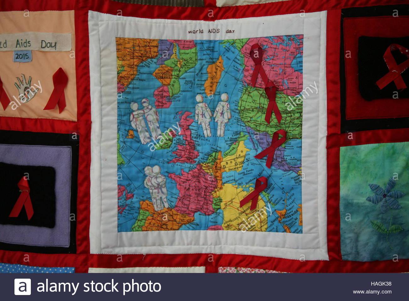Newcastle Upon Tyne, Uk. 1st Dec, 2016. A quilt is seen as a vigil ... : world aids day quilt - Adamdwight.com