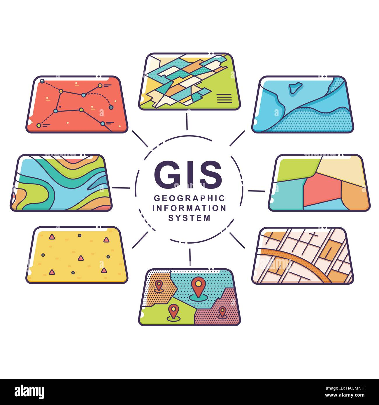 Vector Illustration of GIS Spatial Data Layers Concept for ...