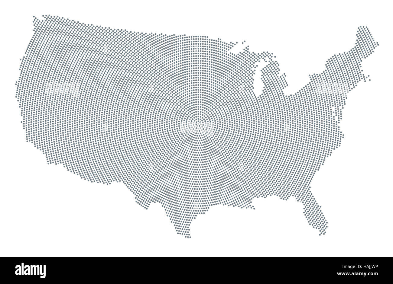 United States Of America Map Radial Dot Pattern Gray Dots Going - Cool us map with dots