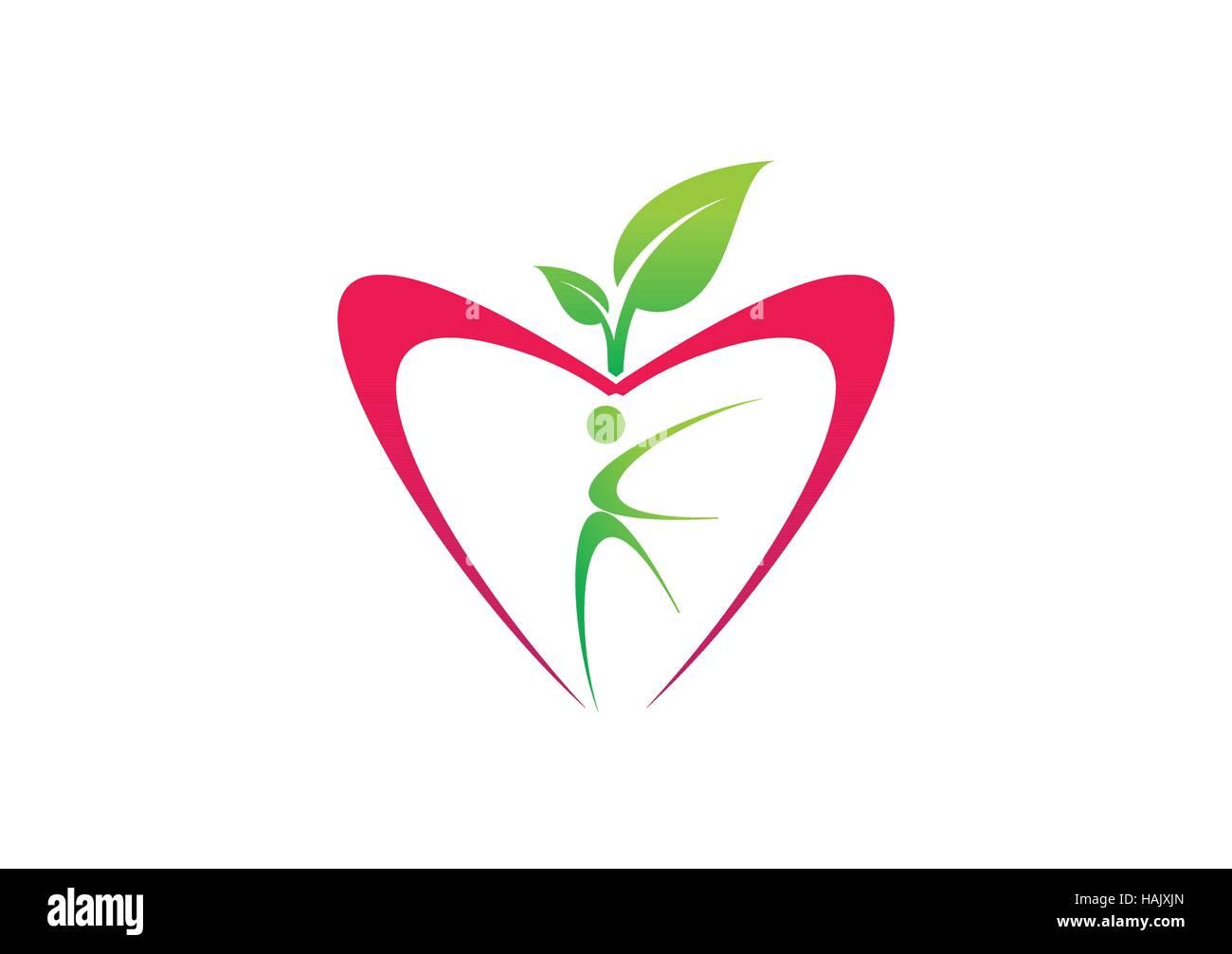 Apple nutrition food logo fruit diet plant symbol people apple nutrition food logo fruit diet plant symbol people wellness and fitness icon illustration nature health design vector biocorpaavc