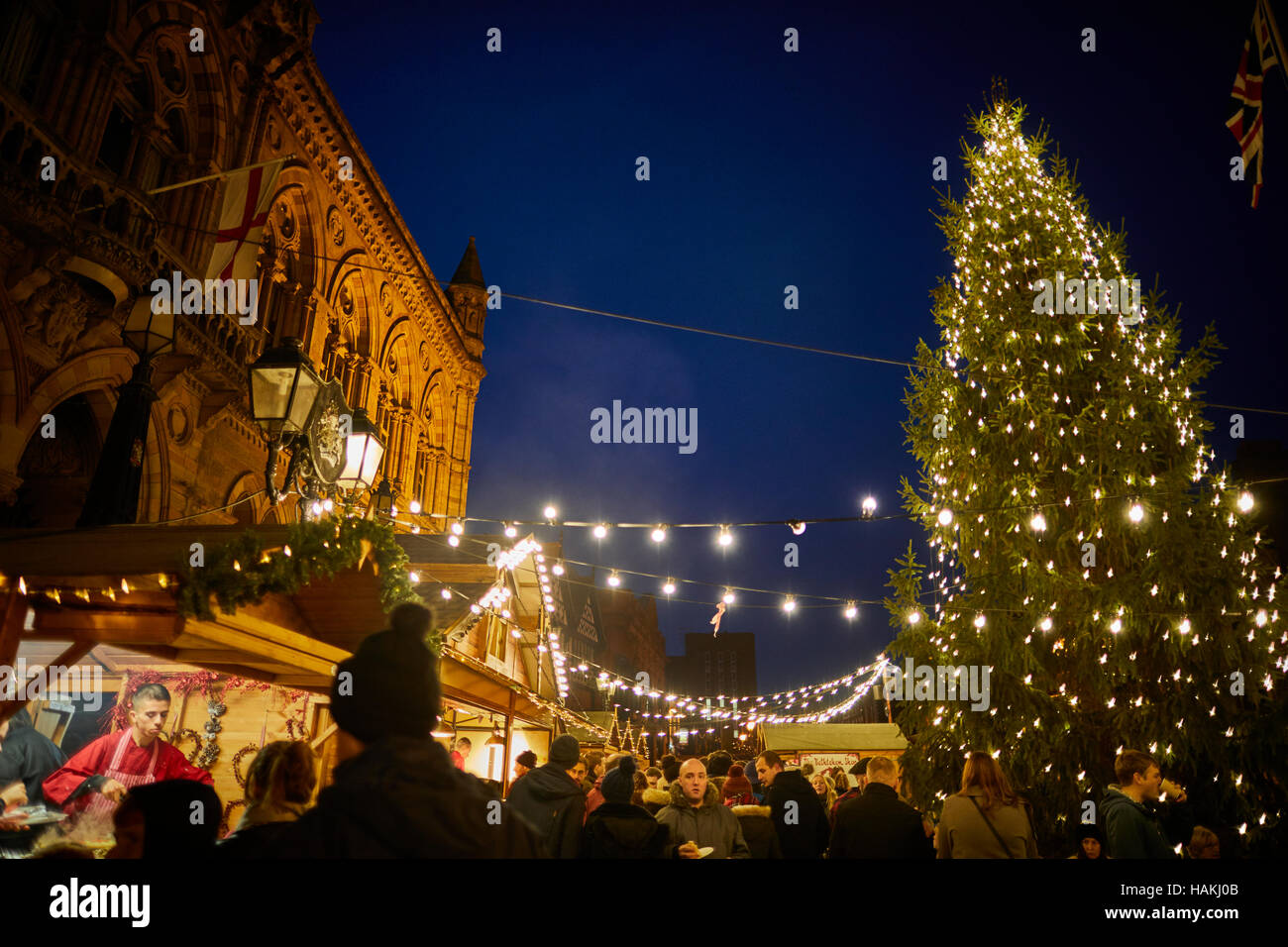 Chester German Christmas Markets Tree Town Hall Exterior Christmas Xmas  Festive Seasonal Market Stalls Gift Market Bazaar Vendor Trader Traders Ind