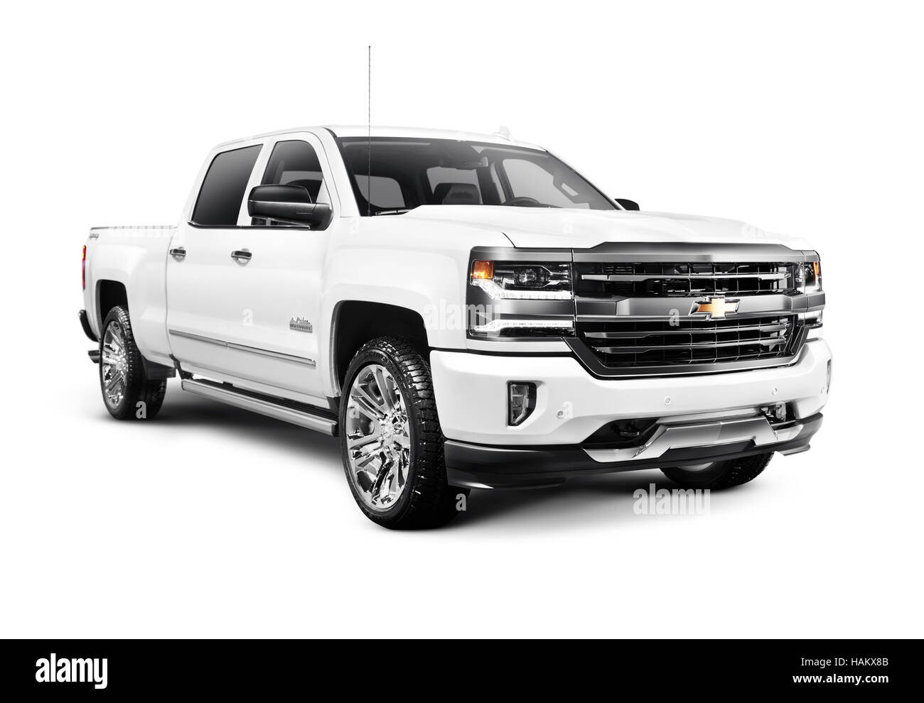 white 2017 chevrolet silverado 1500 pickup truck with high country stock photo royalty free. Black Bedroom Furniture Sets. Home Design Ideas