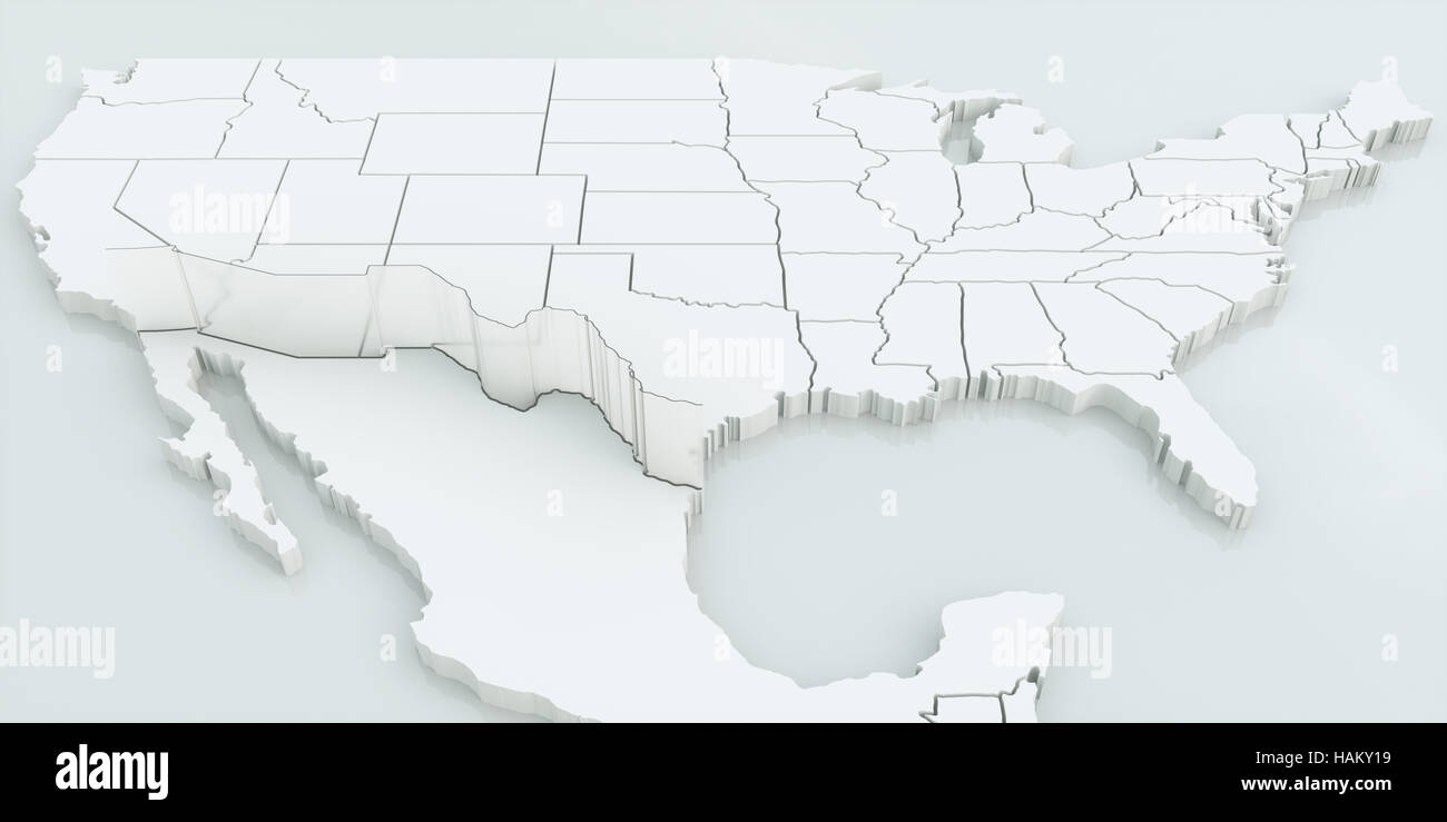 Wall Between USA And Mexico Highly Detailed D Rendering Stock - Mexico and usa map