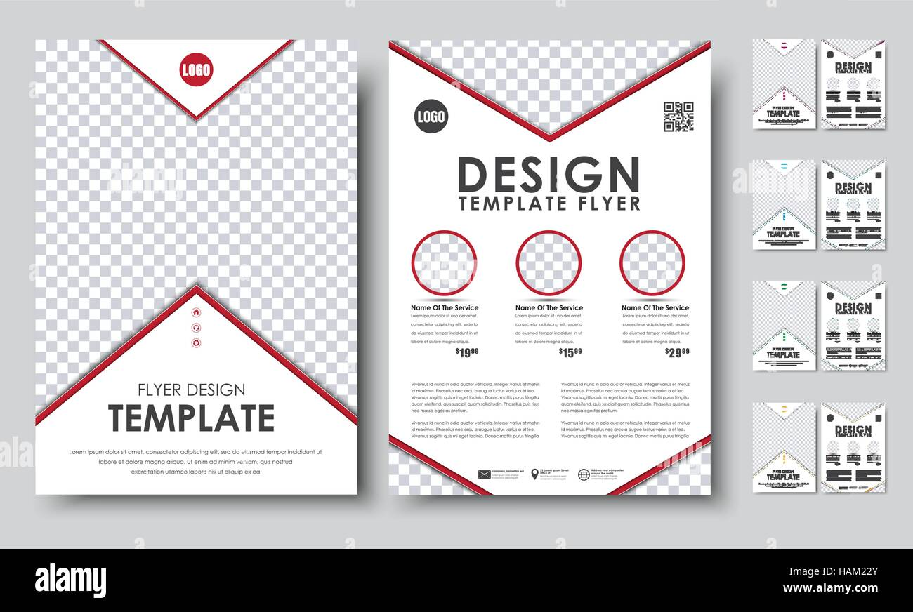 Set of colored flyers a4 template 2 pages booklet with arrows and template 2 pages booklet with arrows and place for photos with qr code vector illustration pronofoot35fo Choice Image