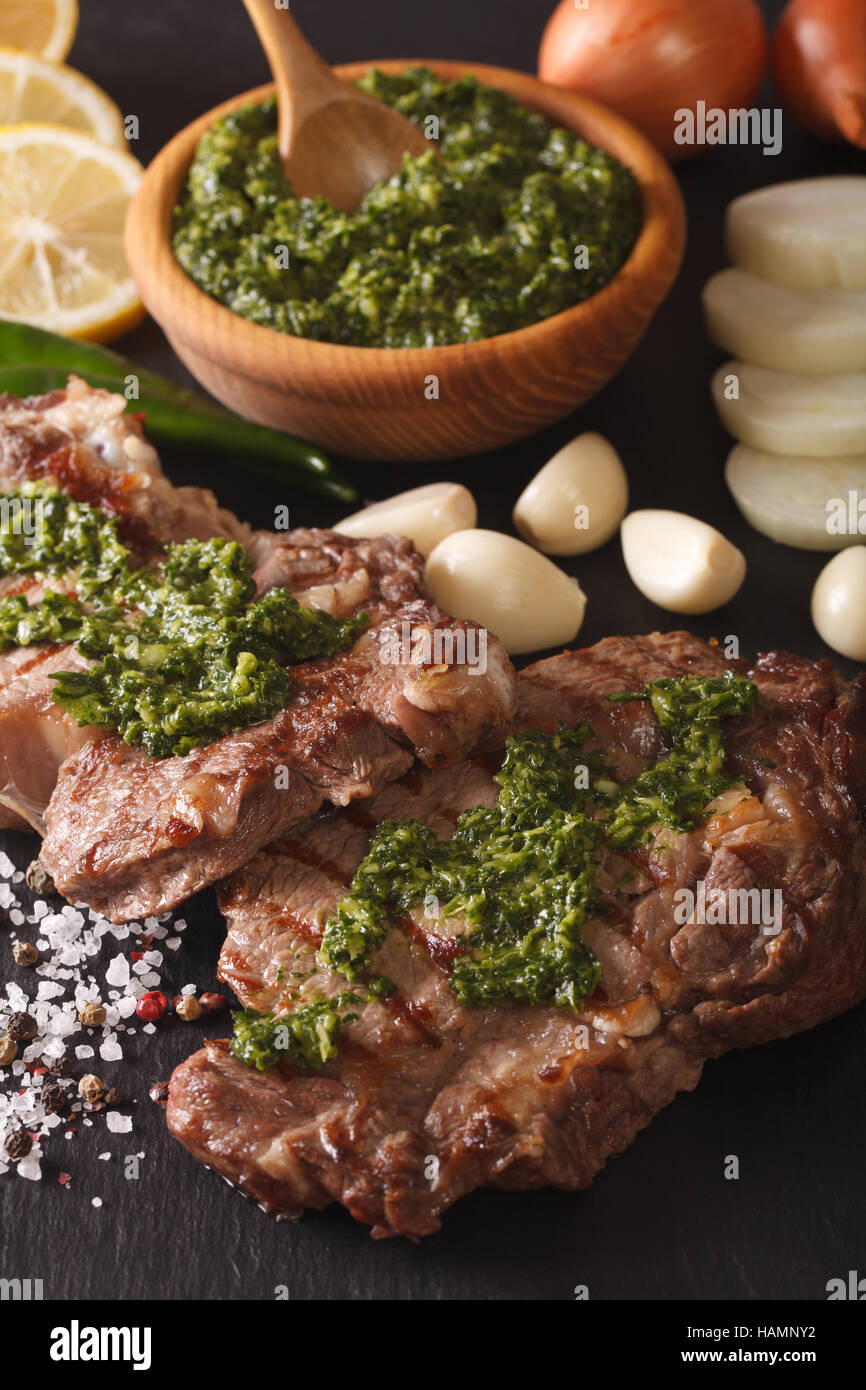 Argentine cuisine grilled beef steak with chimichurri for Argentian cuisine