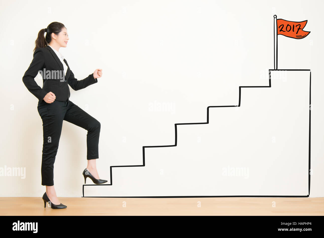view of businesswoman climbing the stairs of drawing to 2017 ... for Climbing Stairs To Success  174mzq