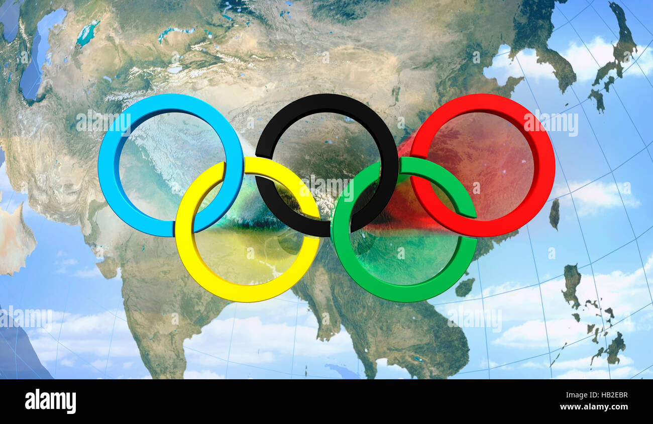 Olympic rings symbol over map of china conceptual 3d illustration olympic rings symbol over map of china conceptual 3d illustration 2008 beijing olympic games biocorpaavc Choice Image
