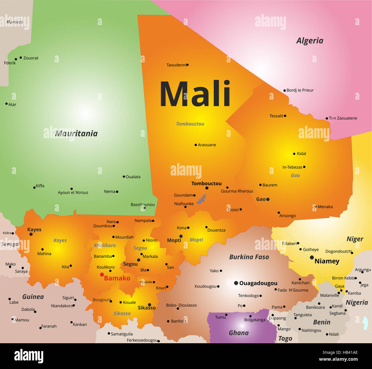 Color Map Of Mali Country Stock Photo Royalty Free Image - Map of mali