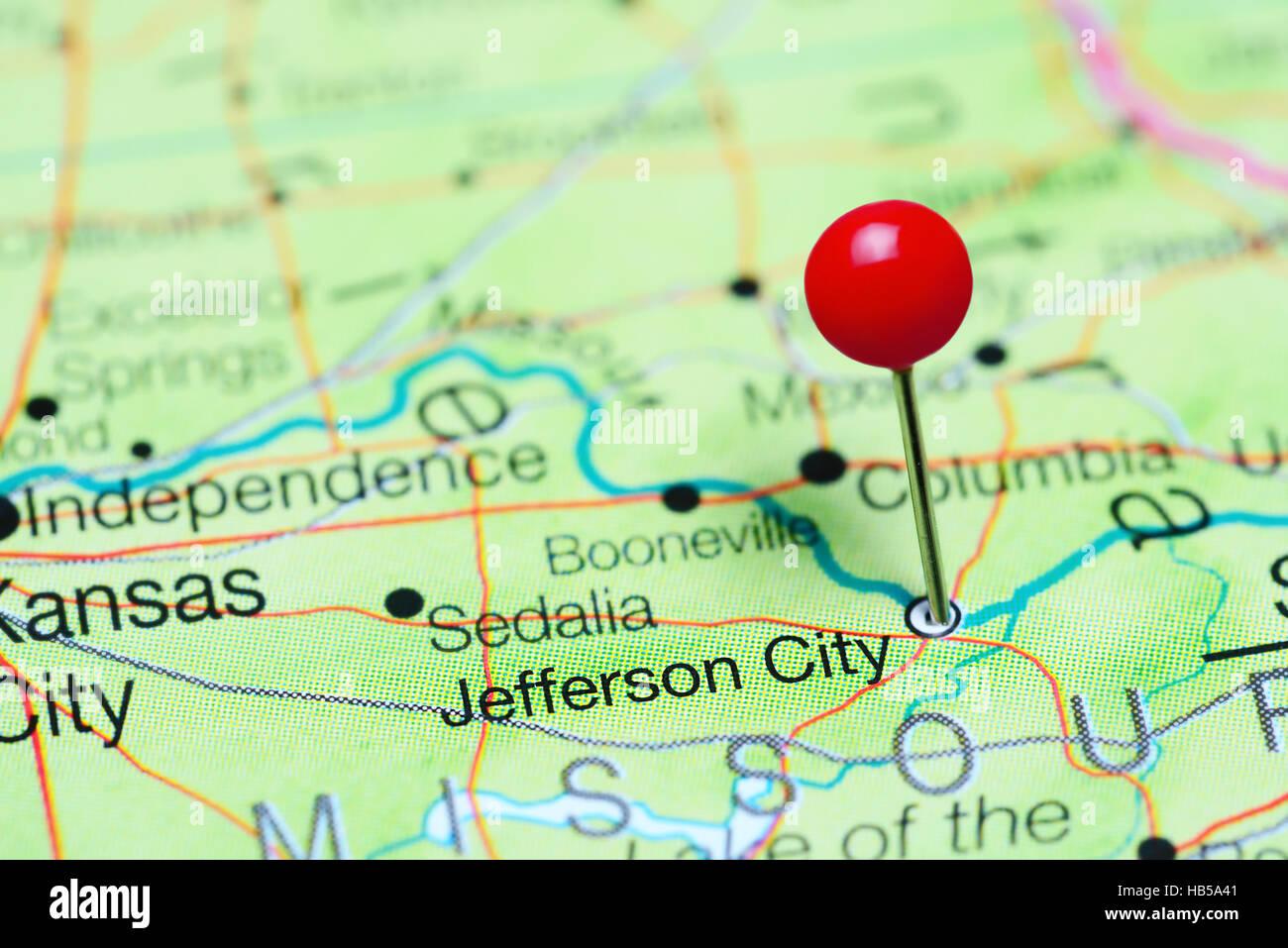 Jefferson City pinned on a map of Missouri USA Stock Photo Royalty
