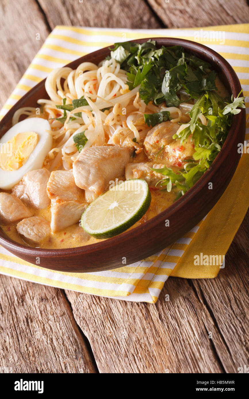 Malaysian Laksa Soup With Chicken Egg Noodles And Herbs Close Up In A Bowl On The Table Vertical