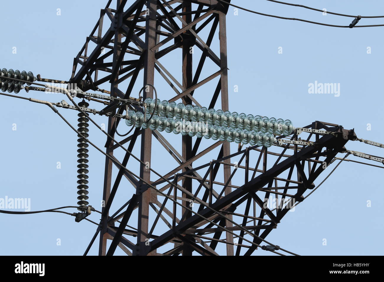 Insulators high voltage power lines stock photo royalty for Glass power line insulators
